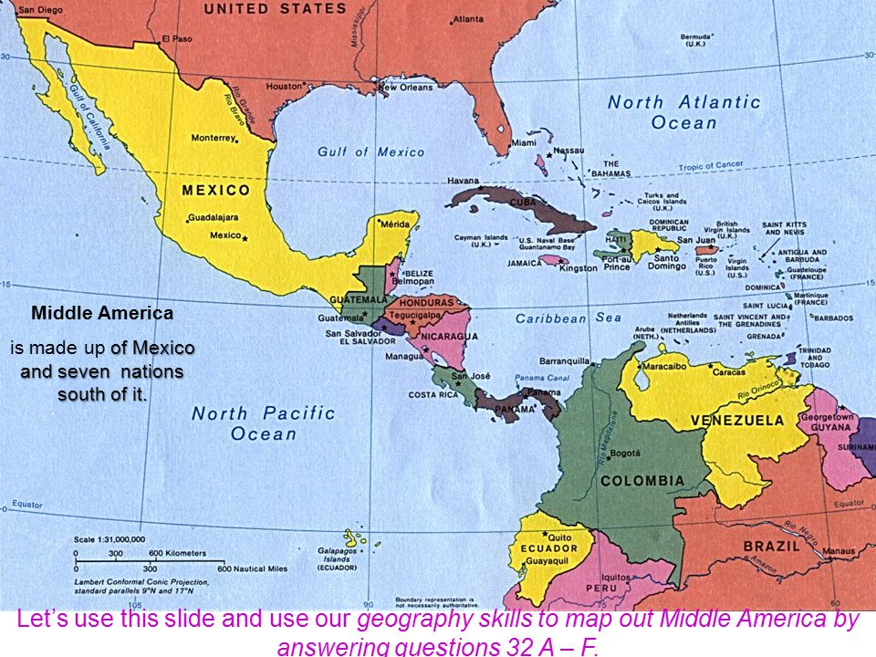 The most northern region of Latin America is Middle America.