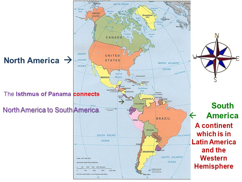 A continent which is in Latin America and the Western Hemisphere