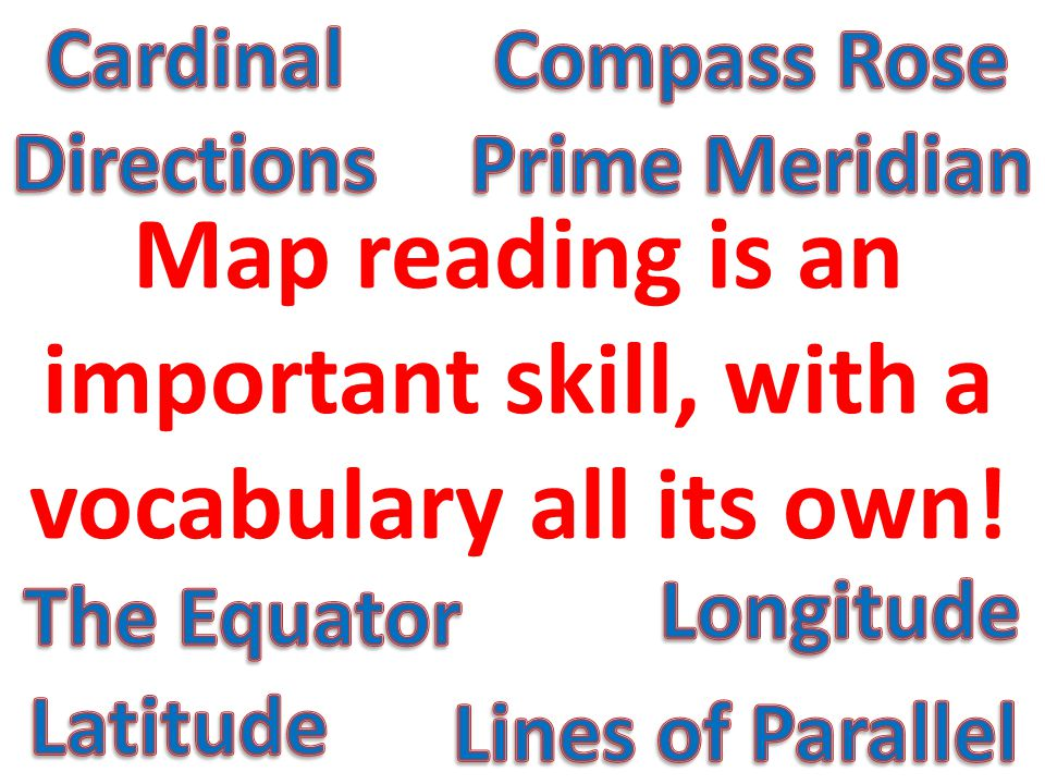 Map reading is an important skill, with a vocabulary all its own!
