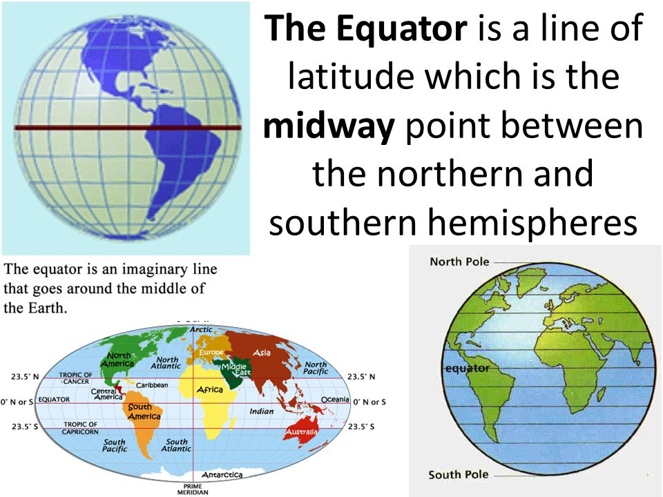 The Equator is a line of latitude which is the midway point between the northern and southern hemispheres