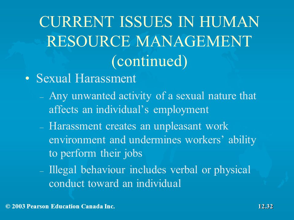 an analysis of the issue of sexual harassment in human resource management
