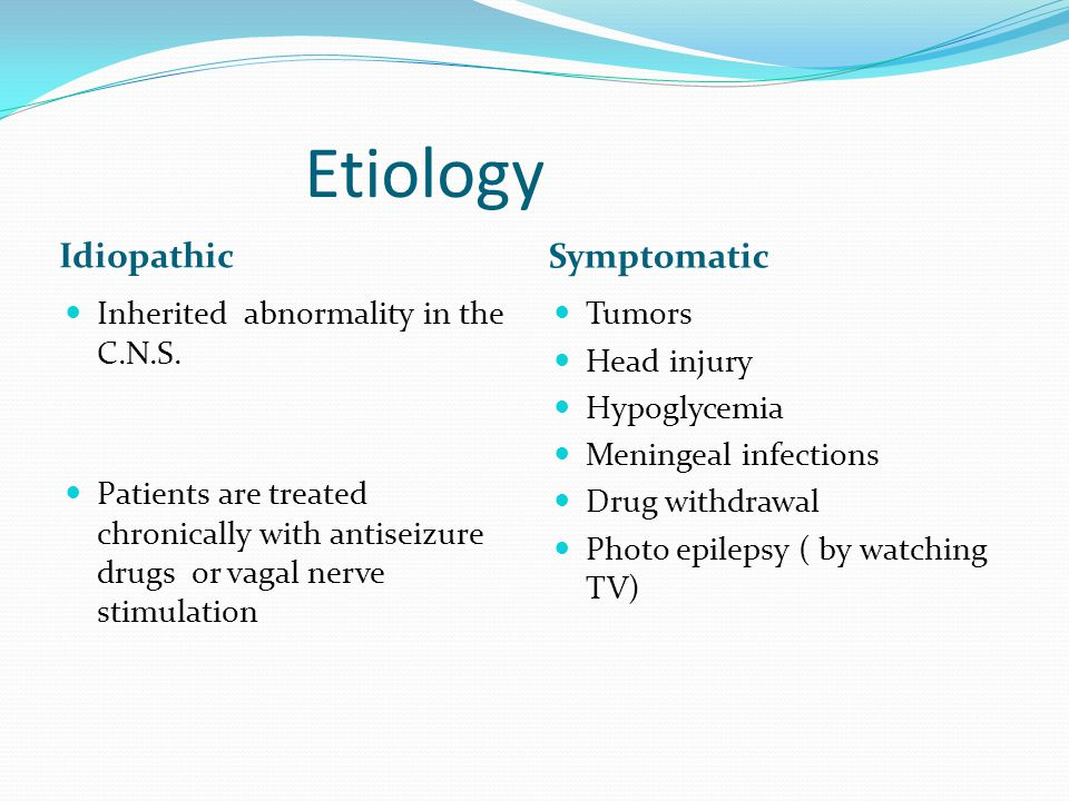 Etiology Idiopathic Symptomatic Inherited abnormality in the C.N.S.