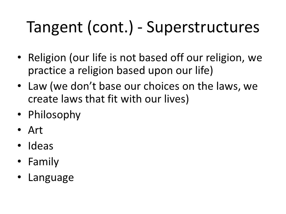 Tangent (cont.) - Superstructures
