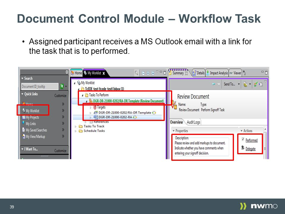 Implementation of a new configuration management system at for Document control workflow