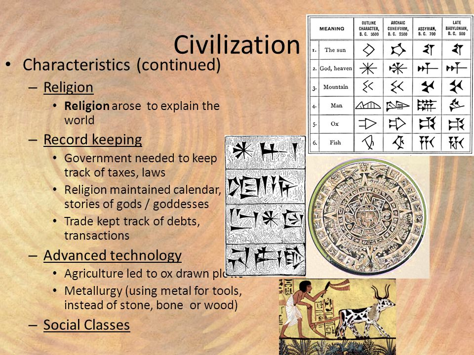 advanced cities record keeping and technology as important characteristics of a civilization Because islam originated and has developed in an arab culture,  though every  society has preserved its distinguishing characteristics  however, it has been  the written record that has had the greatest impact on civilization  in the city so  that others could read about the virtues of their respective tribes.