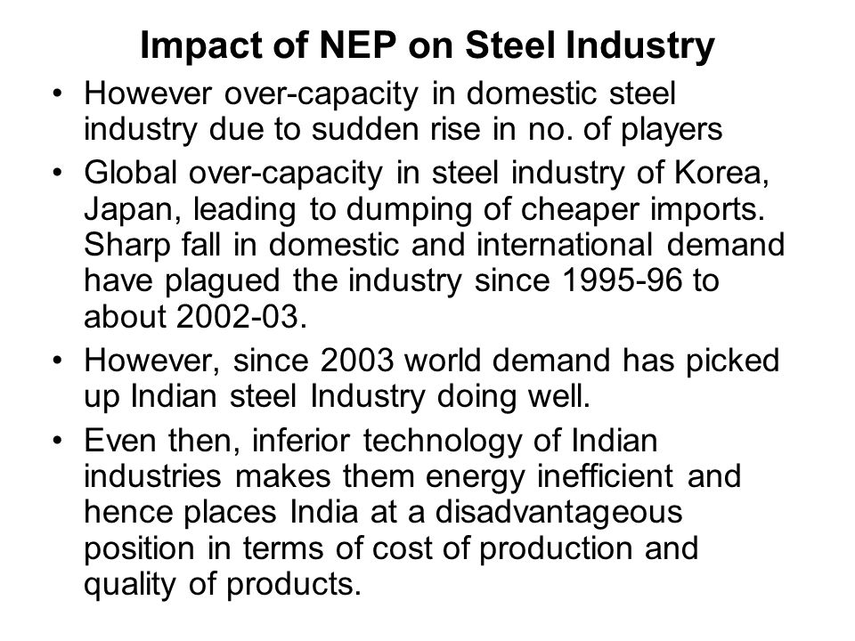 effect of recession on steel industry india
