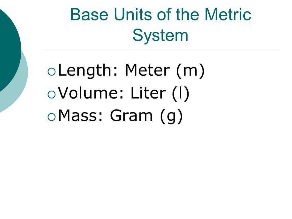 Base Units of the Metric System