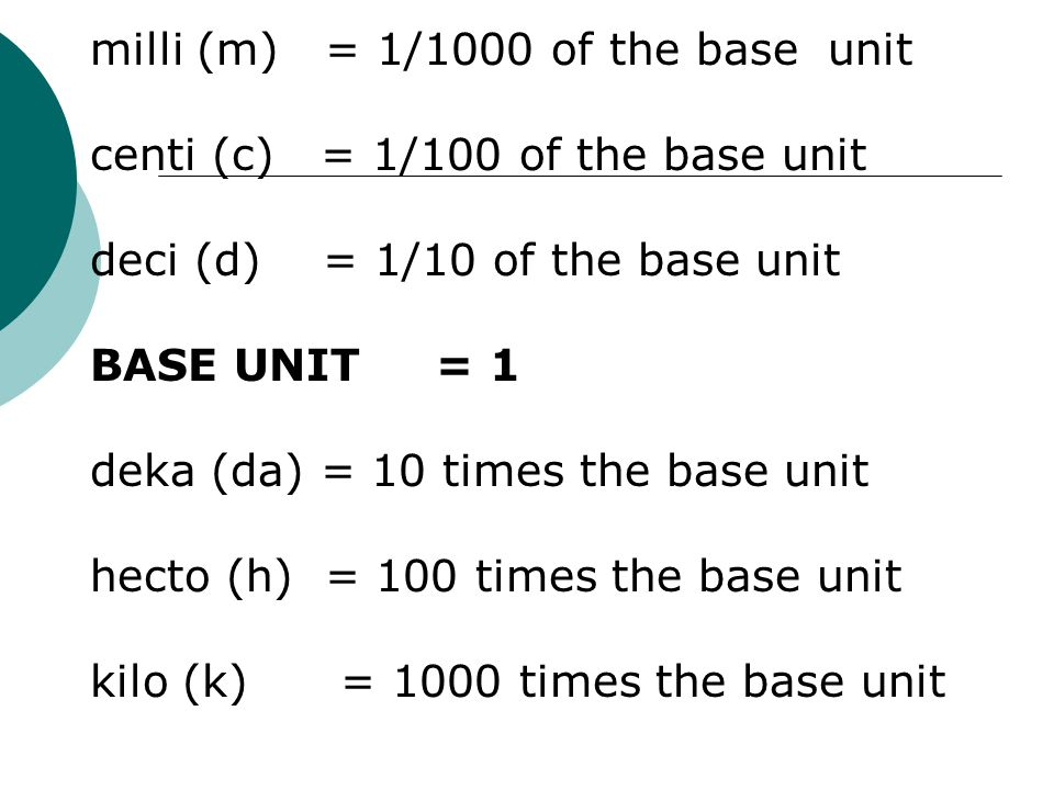 milli (m) = 1/1000 of the base unit