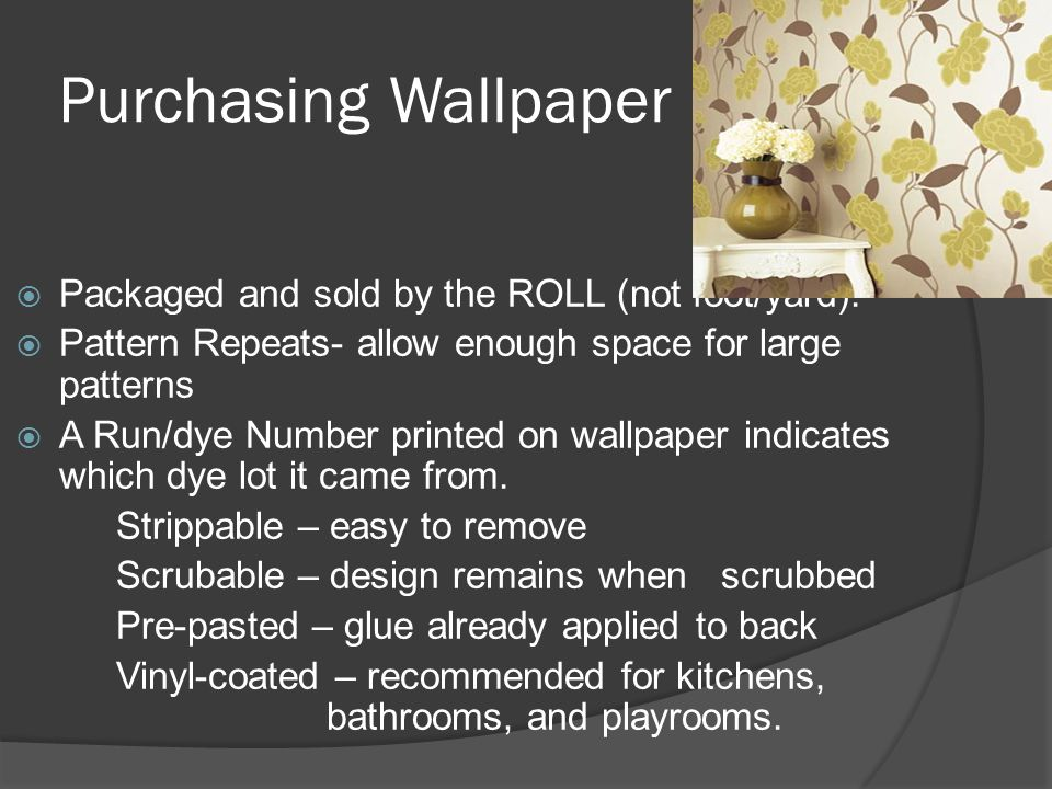 Purchasing Wallpaper Packaged and sold by the ROLL (not foot/yard).