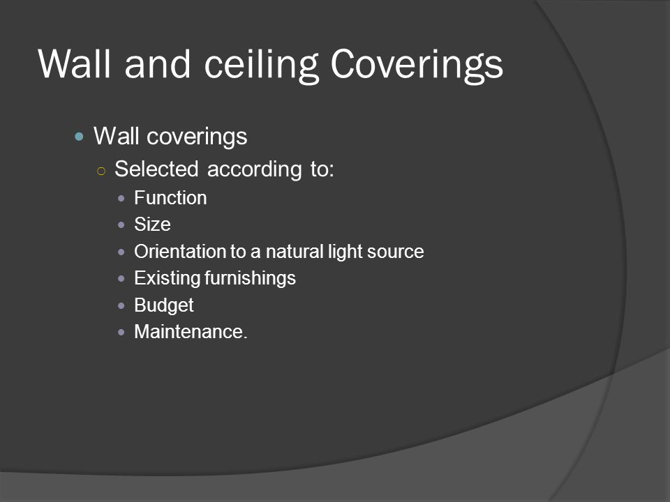 Wall and ceiling Coverings