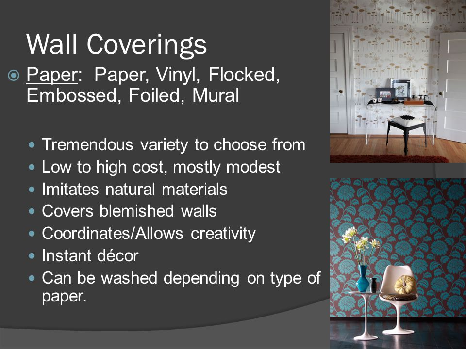 Wall Coverings Paper: Paper, Vinyl, Flocked, Embossed, Foiled, Mural