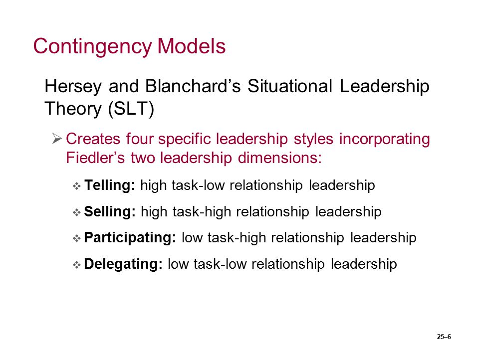 Contingency Models Hersey and Blanchard's Situational Leadership Theory (SLT)