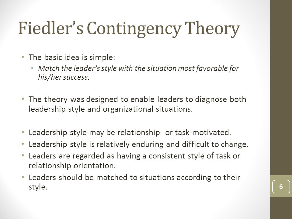fiedler approach to situational analysis Contingency approach  the fiedler situational contingency model measures leadership traits with a test that  the situation analysis has three components.