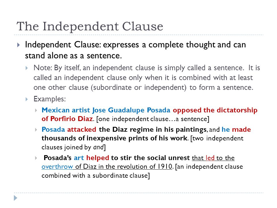 The Independent Clause