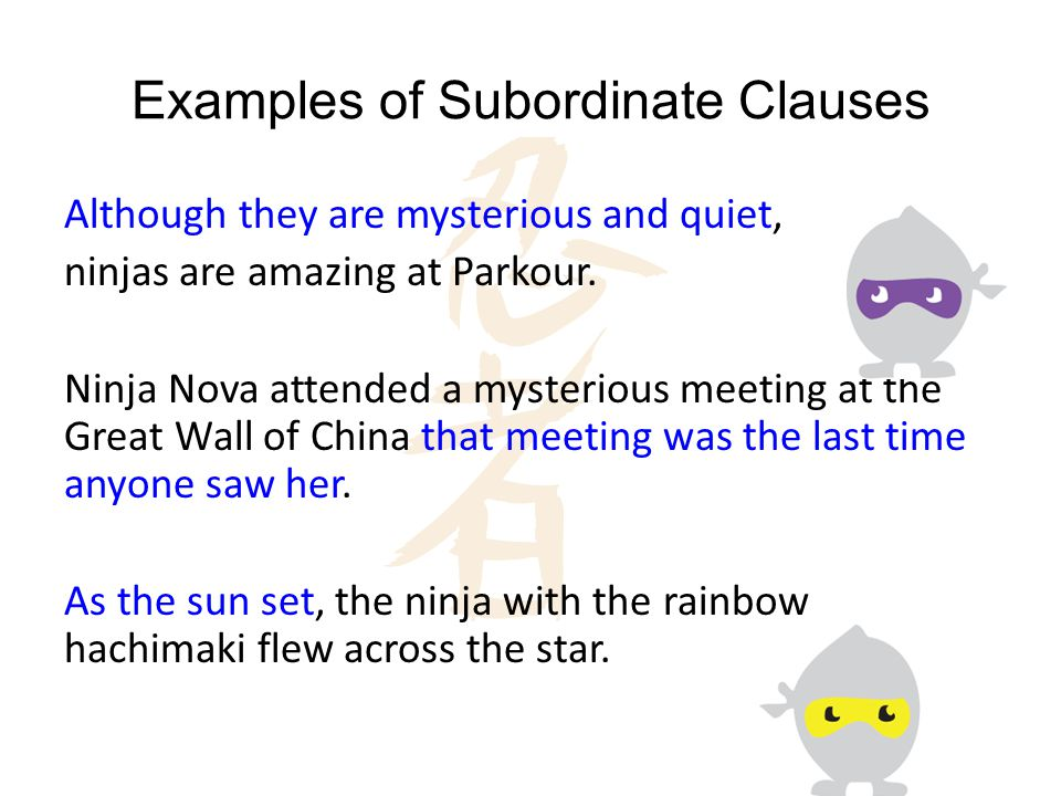 Examples Of Subordinate Clauses