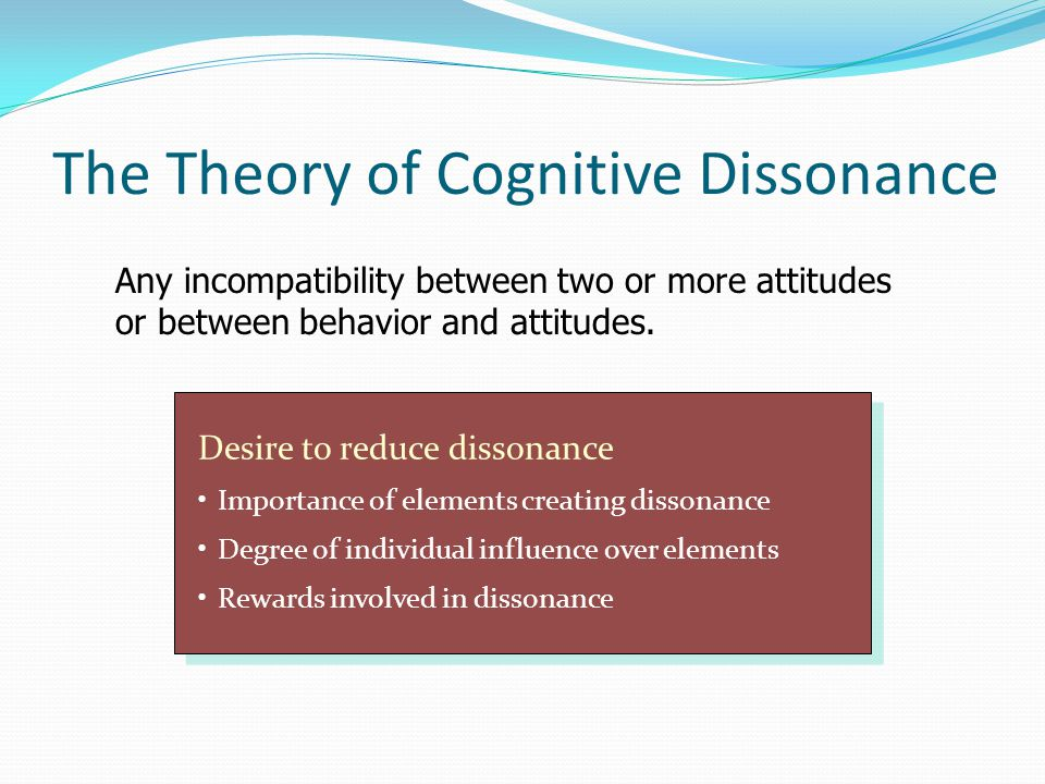cognitive dissonance in marital satisfaction Theories of consumer's satisfaction and the operationalization of festinger's theory of dissonance states that the consumer makes a sort of cognitive.