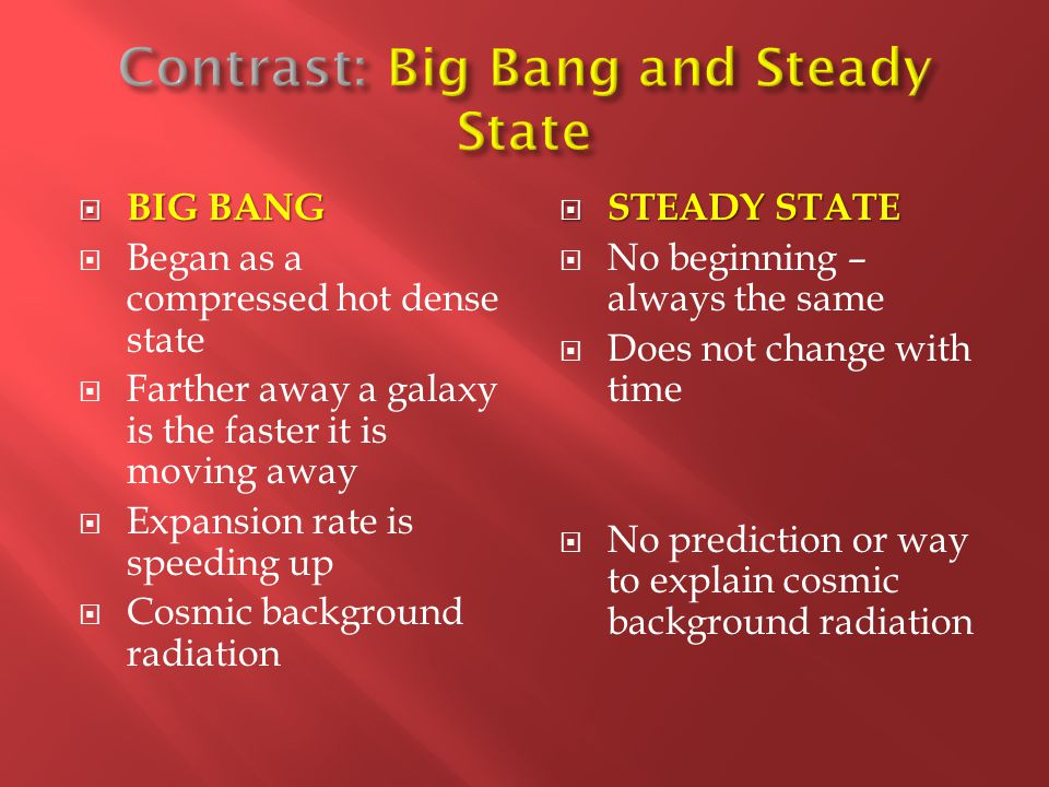 A review of the big bang theory and steady state