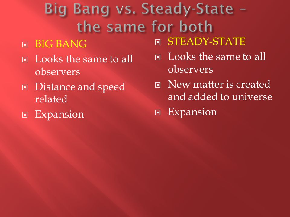 an overview of the two types of cosmological models the big bang and steady state Drawings of an early and a later stage for two different models of an expanding the rival claims of big-bang and steady-state two different types.