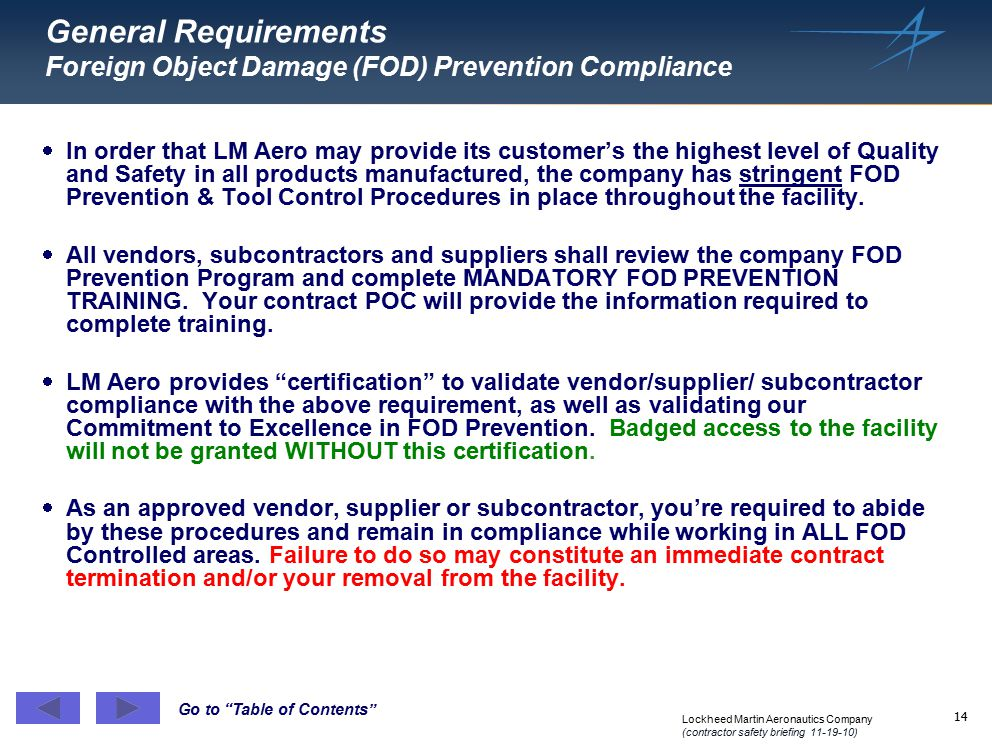 General Requirements Foreign Object Damage (FOD) Prevention Compliance
