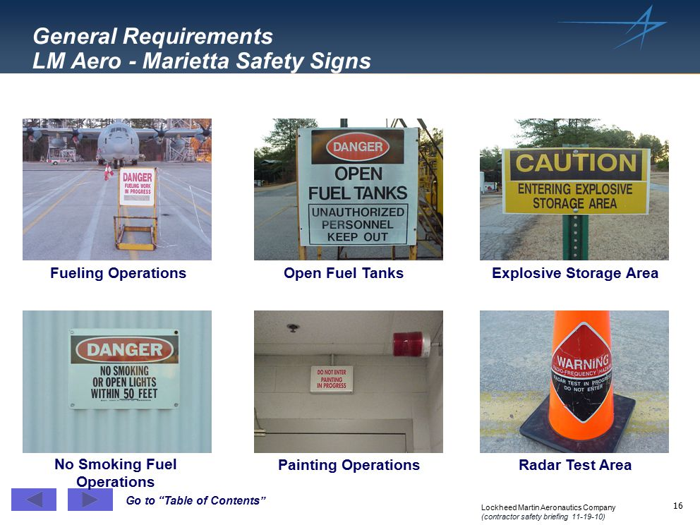 General Requirements LM Aero - Marietta Safety Signs