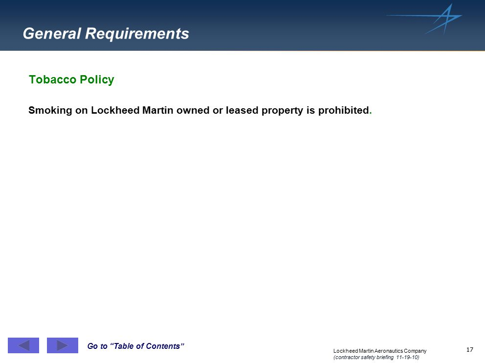 General Requirements Tobacco Policy