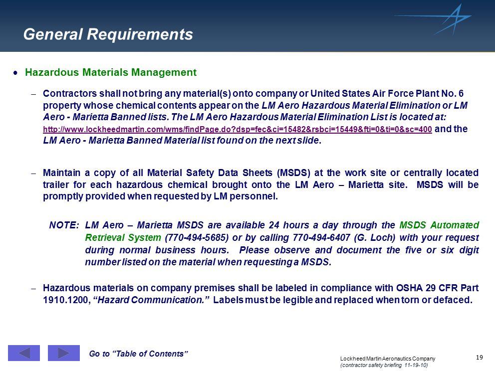 General Requirements Hazardous Materials Management