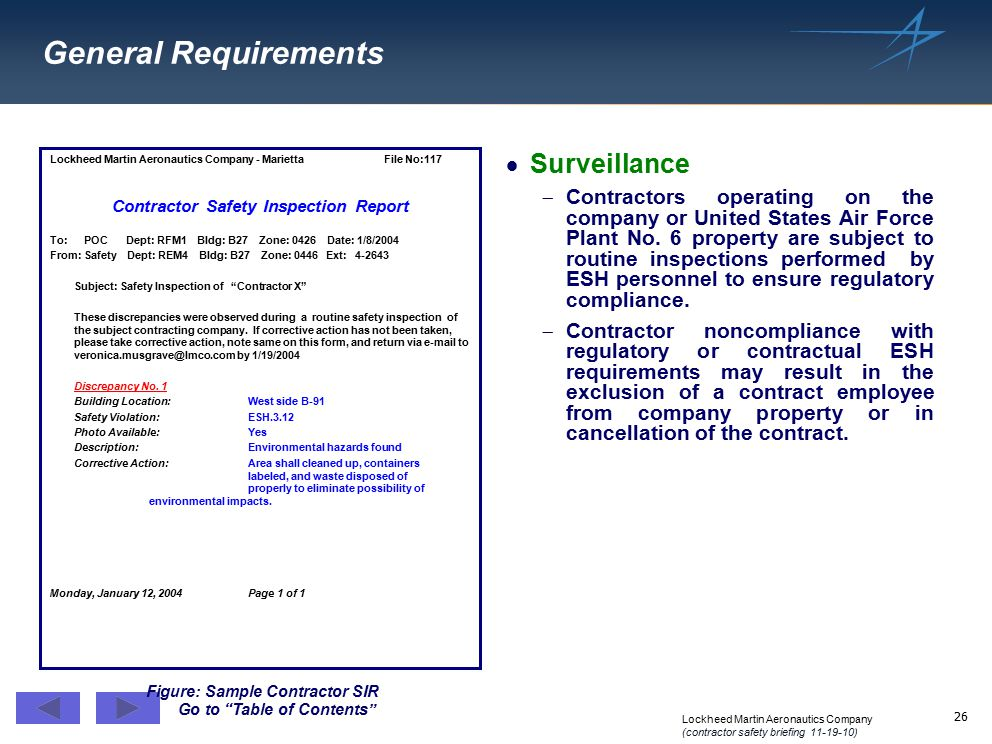 Contractor Safety Inspection Report Figure: Sample Contractor SIR