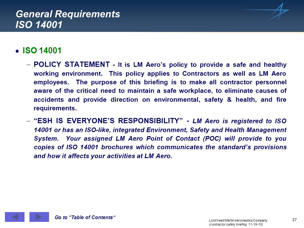General Requirements ISO 14001