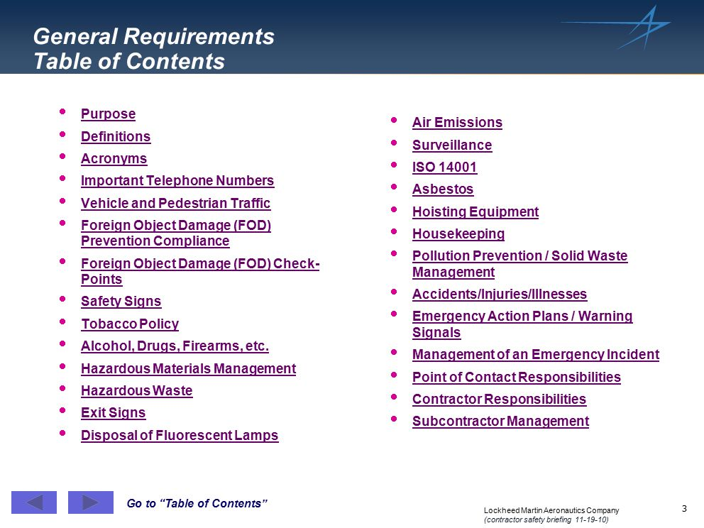 General Requirements Table of Contents