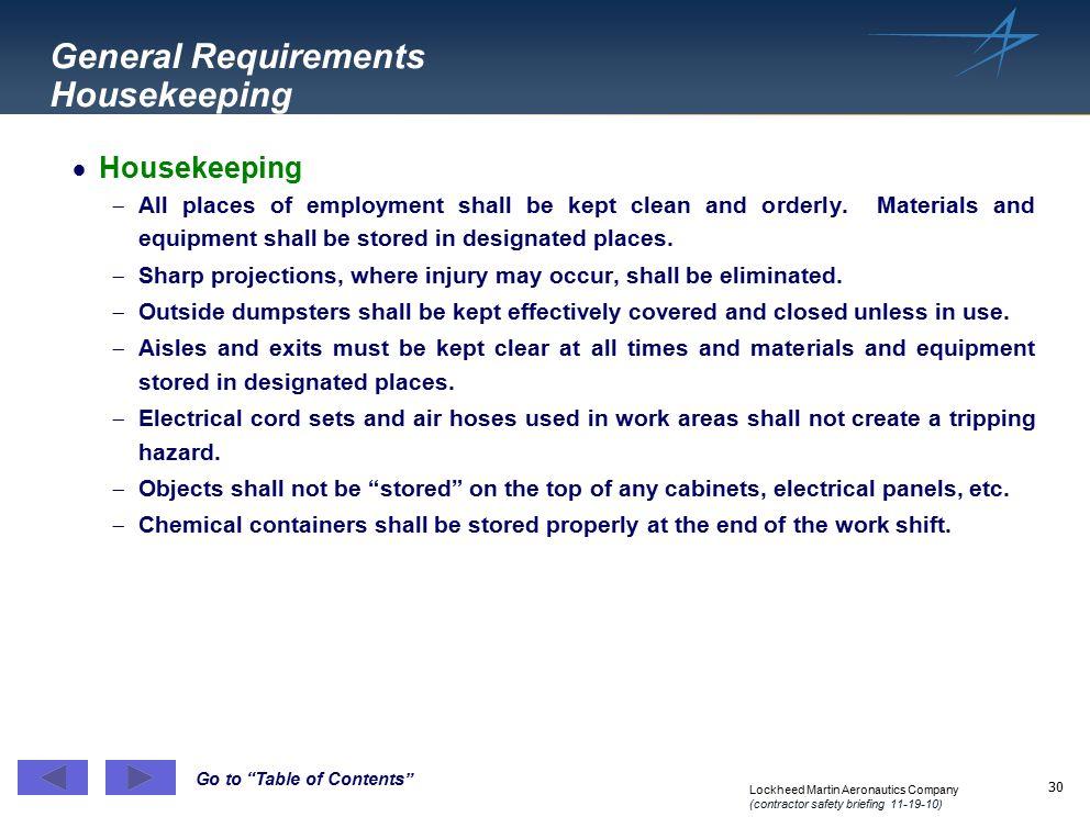 General Requirements Housekeeping