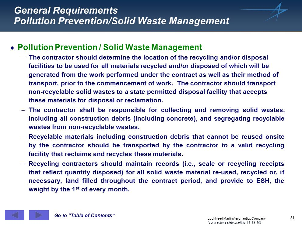 General Requirements Pollution Prevention/Solid Waste Management