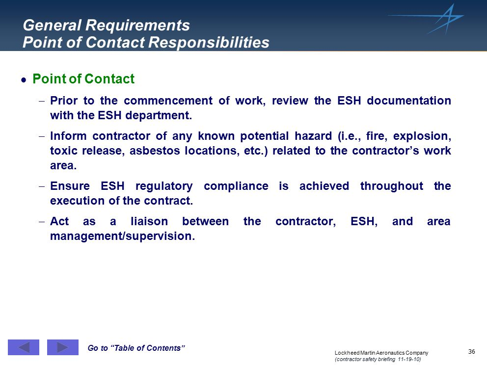 General Requirements Point of Contact Responsibilities