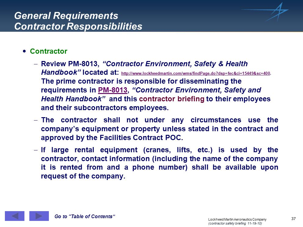 General Requirements Contractor Responsibilities