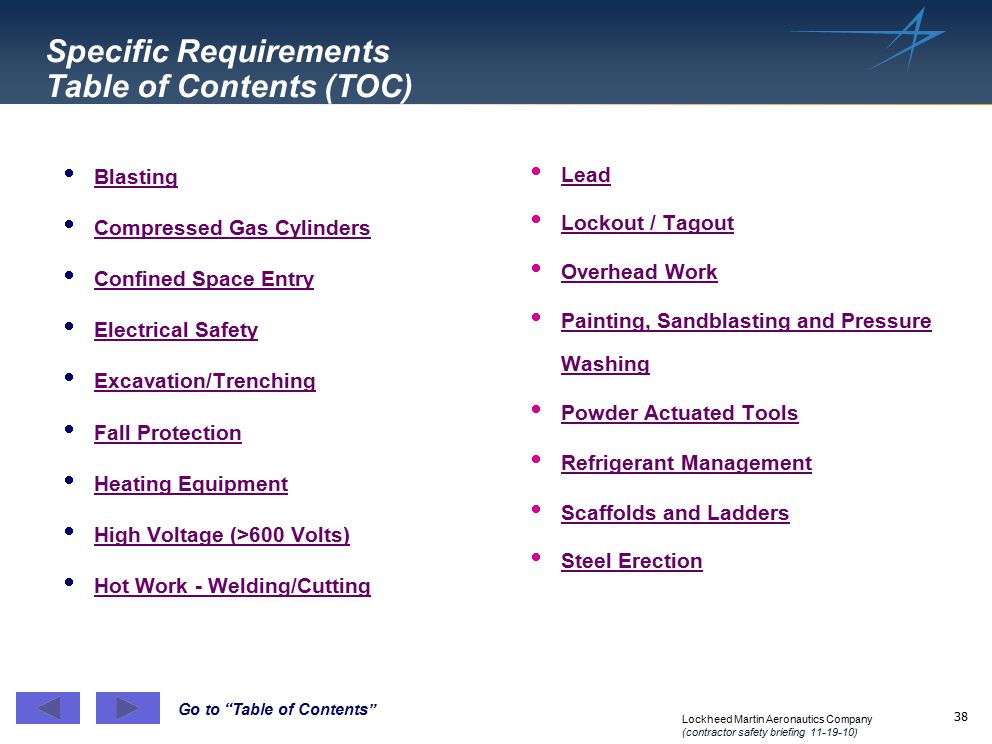 Specific Requirements Table of Contents (TOC)