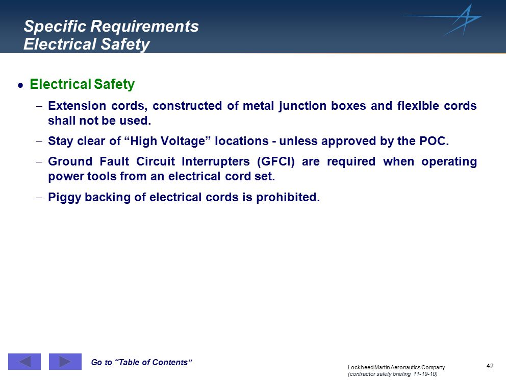 Specific Requirements Electrical Safety