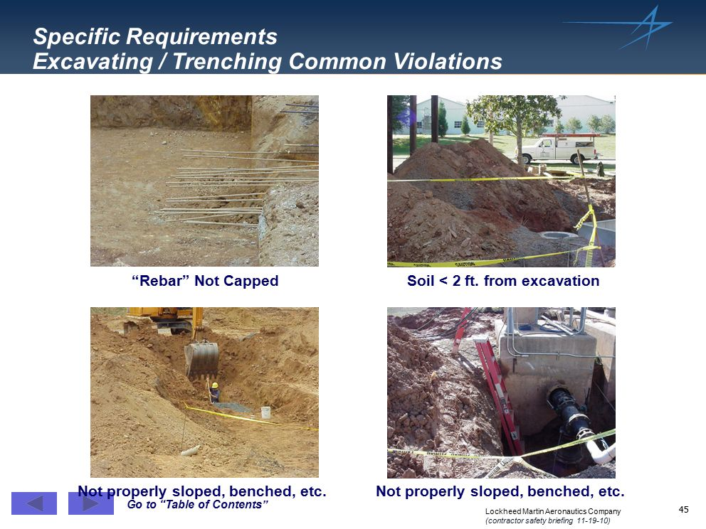 Specific Requirements Excavating / Trenching Common Violations
