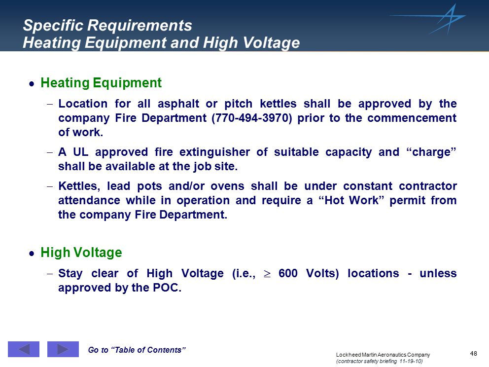 Specific Requirements Heating Equipment and High Voltage