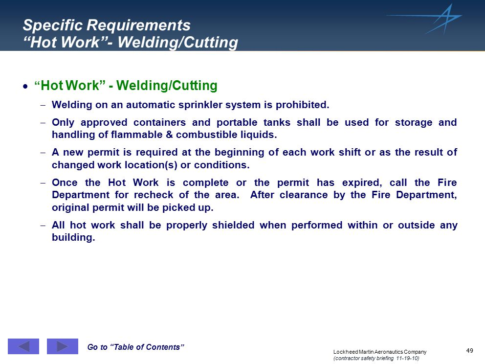 Specific Requirements Hot Work - Welding/Cutting
