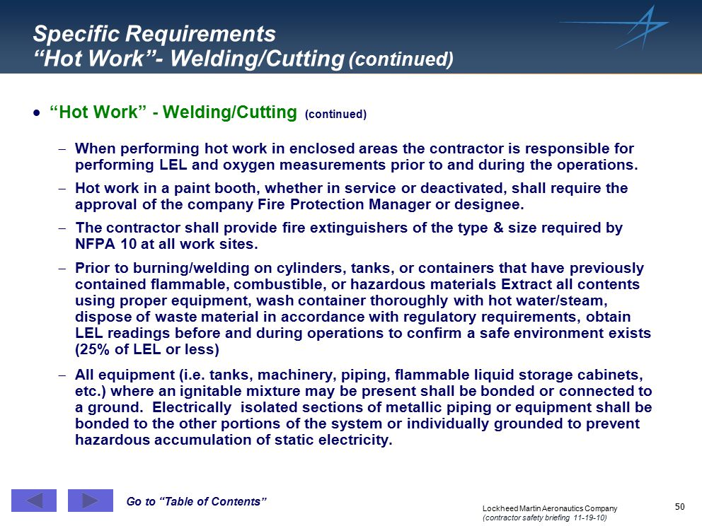 Specific Requirements Hot Work - Welding/Cutting (continued)