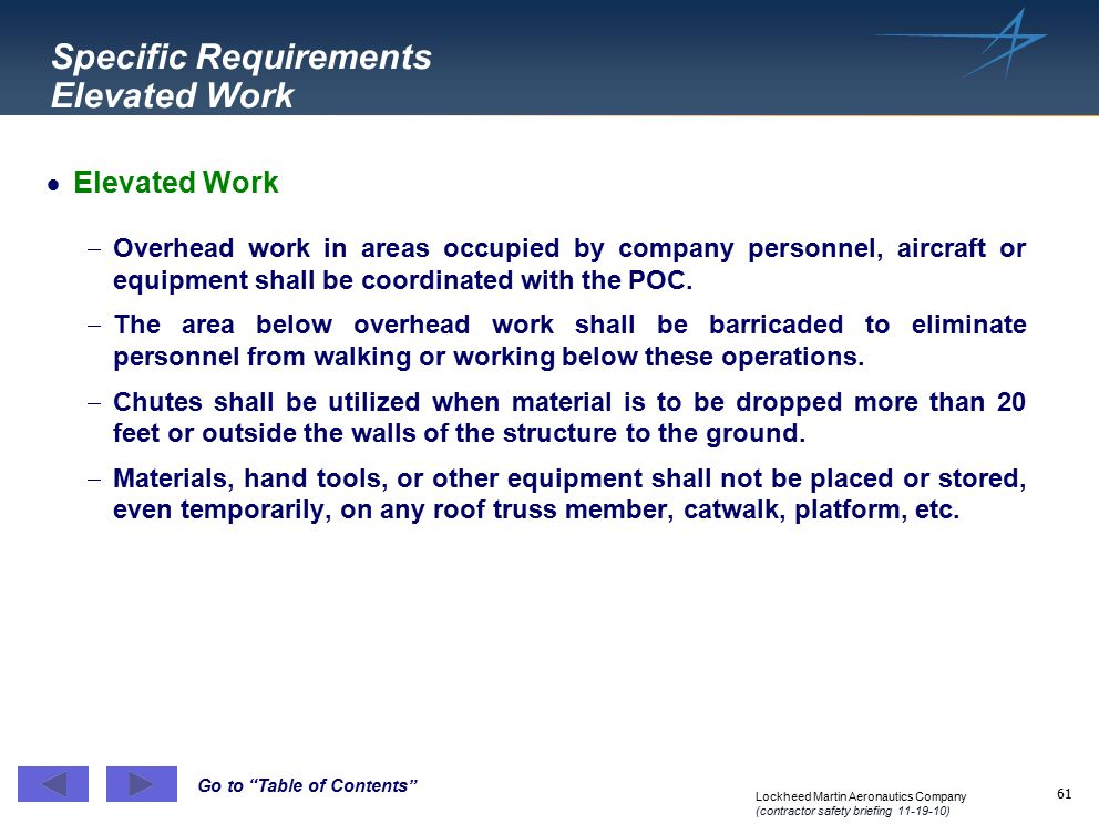 Specific Requirements Elevated Work
