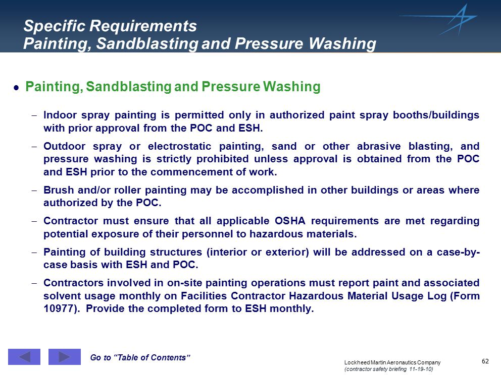 Specific Requirements Painting, Sandblasting and Pressure Washing