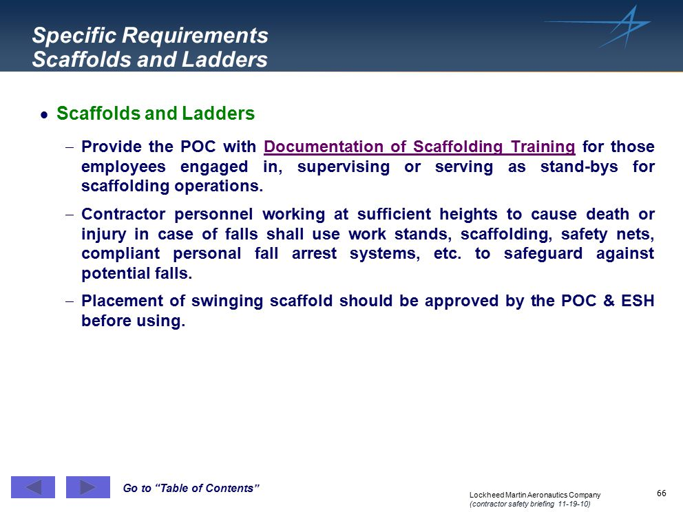 Specific Requirements Scaffolds and Ladders