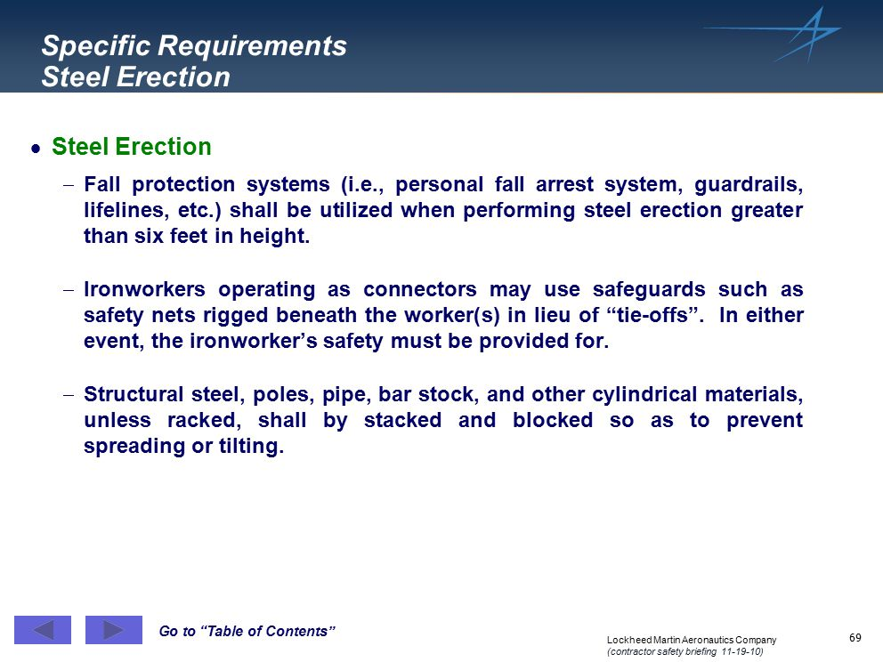 Specific Requirements Steel Erection