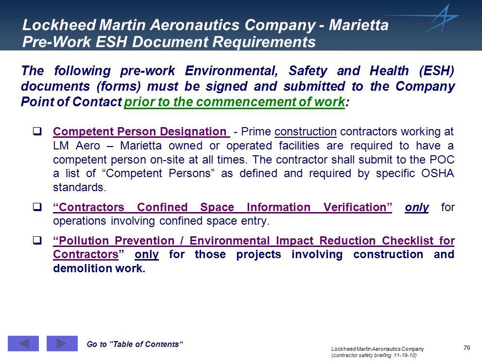 Lockheed Martin Aeronautics Company - Marietta Pre-Work ESH Document Requirements
