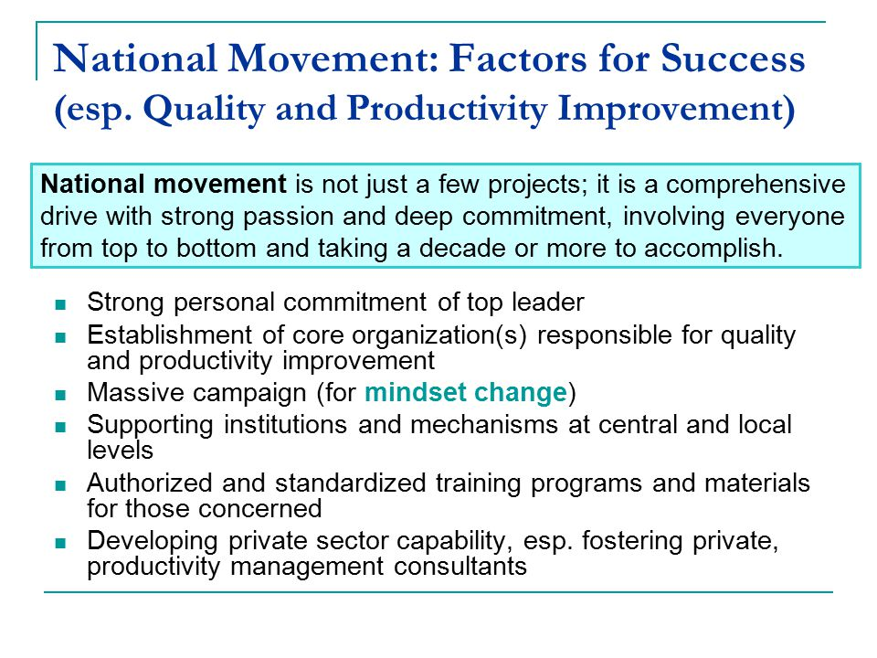 National Movement: Factors for Success (esp