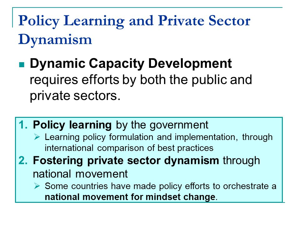 Policy Learning and Private Sector Dynamism