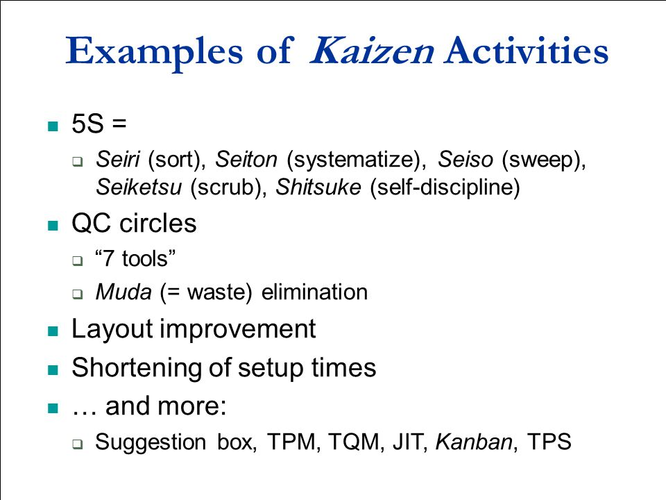 Examples of Kaizen Activities