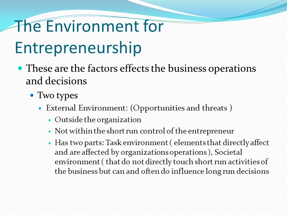 the environmental entrepreneurship Entrepreneurial activity is a major source of innovation around the world in this hands-on course you will learn how to create societal impact through environmental entrepreneurship environmental entrepreneurship describes the discovery and sustainable exploitation of opportunities to create.