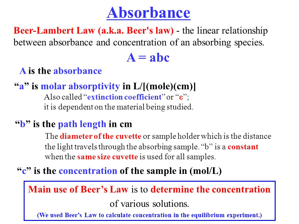 relationship between absorbance and cuvette pathlength