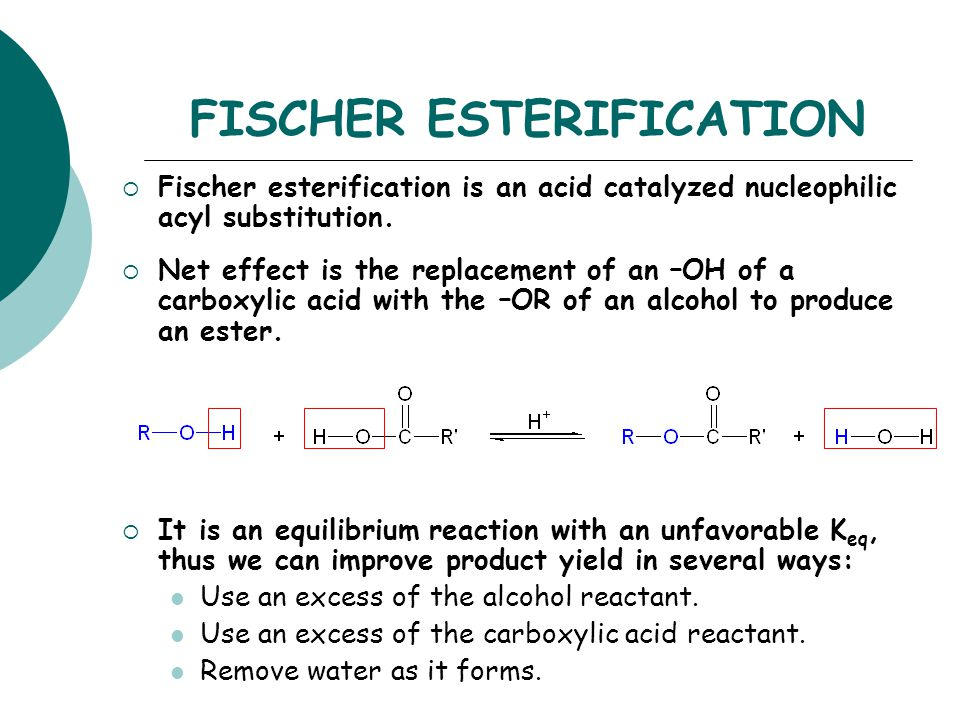 fisher esterfication Successfully utilized in the esterification of a variety carboxylic acids  protocols  for the synthesis of esters are well-known, including fisher.